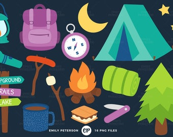 50% OFF SALE! Camping Clip Art, Summer Clipart, Campground Clip Art - Commercial Use, Instant Download