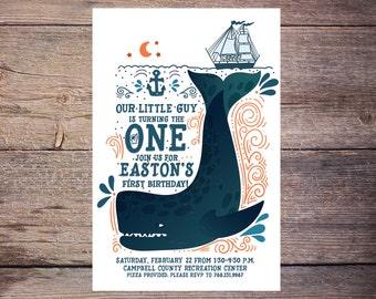 Whale Birthday Invitation, Nautical, Pool Party, Print at Home Birthday Invitation, birthday invite, Printable Birthday Invitation – Easton