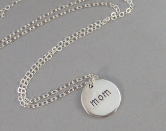 Mom Necklace,Sterling Silver Necklace,Mom,Engraved Mom,Engraved Necklace,Mom Charm,Mother's Day,Gift Mom.Charm Necklace,Sea Maiden Jewelry