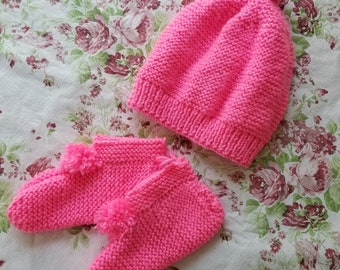 Adorable knit beanie and bootie set
