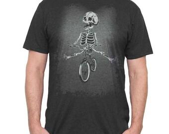 Halloween Bike Shirt - Men's Bicycle Shirt - Skeleton Riding a Bike Hand Screen Printed on a Mens T Shirt