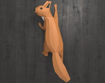 Squirrel Papercraft, Papercraft Wall Decor DIY Gift, DIY Paper Animals, Faux Taxidermy, 3D Paper Sculpture, PDF Template, 3D Origami pdf kit