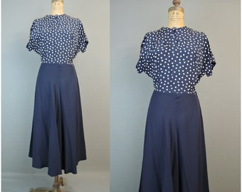 Vintage 1950s Navy Blue & Polka Dot Dress, fits 38 inch bust, Rayon and Crepe