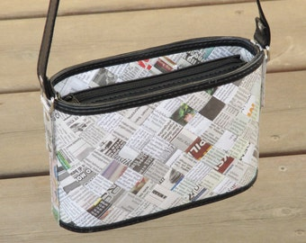 Crossbody bag newspaper, FREE SHIPPING, sustainable gift for women, vegan bag, upcycling by milo, naveh milo, green product