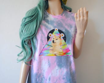 Doge Meme Tie Dye T-Shirt hipster gift cute dog tumblr 90s shiba inu harajuku gamer