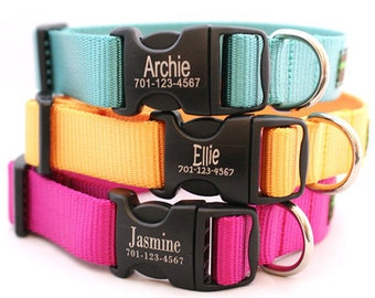 Laser Etched Personalized Webbing Dog Collar - 18 colors