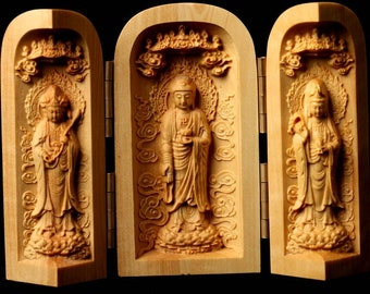 Chinese Hand Carved Boxwood Quan Yin Folding Meditation Buddhist Altar Shrine Feng Shui 2 3/4 in. H