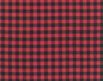 Burly Beaver Cardinal Plaid Flannel by Andie Hanna for Robert Kaufman quilting red lumberjack fabric material AHEF1599594 yard metre