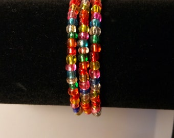 Colorful Beaded Wrap Cuff Bracelet