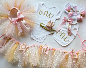 1st Birthday Outfit in Pink and Gold Polka Dot Outfit and Decor Set for Baby Girl - Smash Cake First Birthday Party Matching Collection 6Pcs