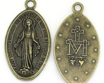 1 pendant Medallion Virgin Mary in metal bronze