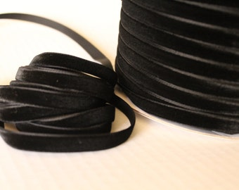 3/8 inch  (10 mm ) Black Velvet Ribbon / Single-face velvet ribbon  /  VRXMD38-03