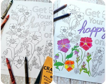 PANSY coloring page floral design PDF -  Get your happy on - embroidery color