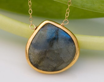 Labradorite Necklace - Gemstone Necklace - Gold Necklace - Layered Necklace - Stone Pendant - Gold Framed Stone - Gift for her  Boho Jewelry