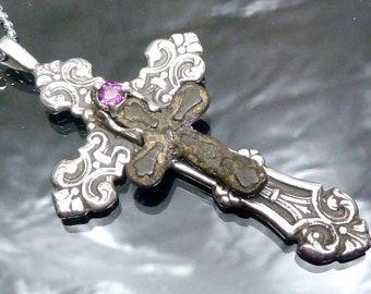 Medieval Cross Bronze Russian Artifact 1600-1900 AD Rhodolite Garnet Sterling Silver Big Gothic Orthodox Pendant Necklace Jewelry