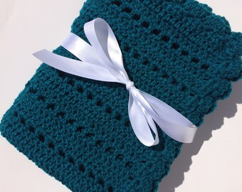 Crochet baby blanket teal blanket photo prop ready to ship