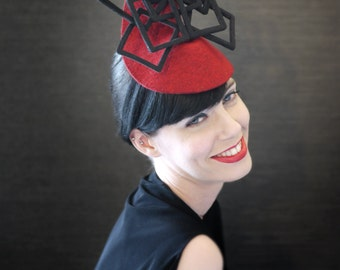 Red Felt Fascinator with Black Geometric Fan Accent - Fractal Series - Made to Order