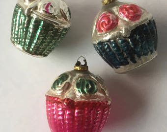 Set of 3 Antique 1920s Bumpy Figural Flower Rose Basket Christmas Ornaments Feather Tree Sized