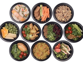 20 Piece Meal Prep 7 Inch Round Food Storage Containers Durable BPA Reusable Portion Control & 21 Day Fix Weight Loss Fitness Tupperware