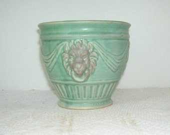 Antique Weller Matte Green Pottery Lions Head Planter, Arts and Crafts Pottery, craftsman, Mission Style, Vintage Weller Pottery, Art Pot
