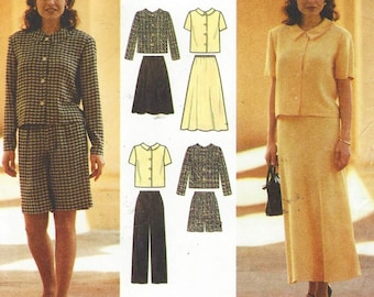90s Womens Button Front Top, Skirt, Pants and Shorts Simplicity Sewing Pattern 7182 Size 12 14 16 Bust 34 36 38 UnCut Sewing Patterns