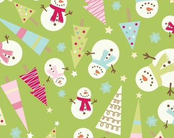 SALE 2 yards Snowmen Tossed Green from the Be Merry Collection by Mind's Eye for Riley Blake Fabrics