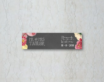 Floral Chalkboard Wedding Straw/Cupcake Flag