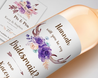 Antlers Wedding Wine Label, CUSTOM Rustic Bridesmaid Proposal, Will You Be My Bridesmaid Wine Label, Bridal Party Wedding Gift Box Favors