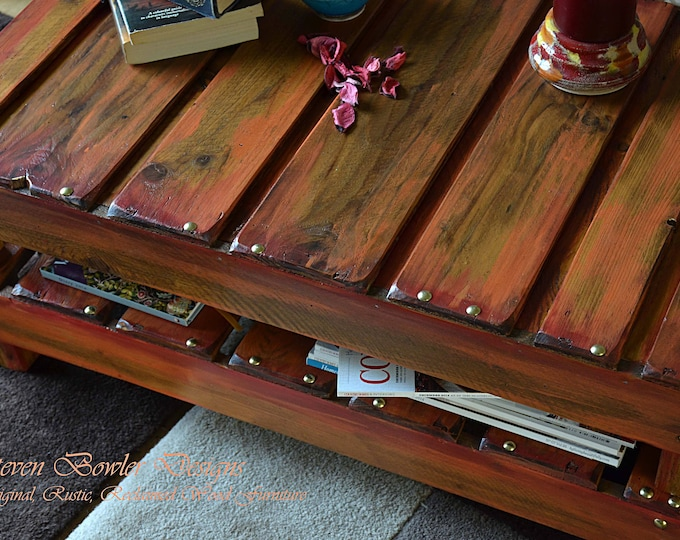 Country Classic Variagated Reds & Burnt Orange Rustic Reclaimed Wood Coffee Table with Handy Under Shelf Storage and Decorative Gold Tacks