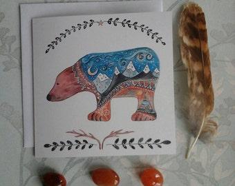 Bear card, bear gift card, bear art card, mountain card, tepee card, wanderlust gift card, art card, spirit bear