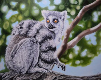 Bright Eyed and Bushy Tailed - 14x22 Original Oil Painting on Canvas
