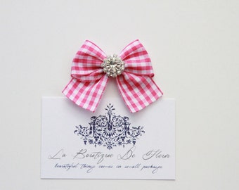 Handmade Checkered Ribbon Bows with Diamante