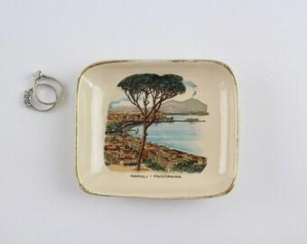 Vintage Porzellan Naples Souvenir Schmuckstück Gericht - von La Colonnata Sesto Fiorentino - hergestellt in Italien