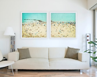 Large Fine Art Diptych Photography // Aerial Beach Photography for Modern Home // Coney Island Beach Diptych // SET OF TWO Beach Prints
