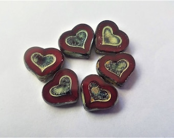 6 Czech glass hearts. Red, Gold, picasso