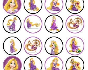 Rapunzel Princess Tangled Edible Wafer Rice Paper Cake Cupcake Toppers x 24 PRECUT