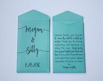 Turquoise Custom Seed Packet Wedding Favors - Many Colors Available