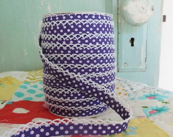 Purple Polka Dot Crochet Edge Bias Tape (No. 17).  Sewing Supplies.  Fabric. Quilting Supplies.  Double Fold Bias Tape.