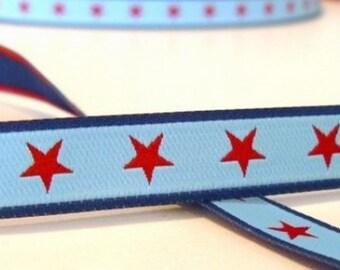 Ribbon Star Blue farbenmix 12mm by the yard