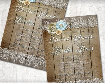 Rustic Bridal Shower Invitation Country Chic Bridal Shower Invitation Floral and Lace Bridal Shower Invite, DIY Bridal Shower Invitation