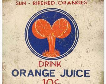 Nostalgic Orange Juice Sign 12x12 RG1600
