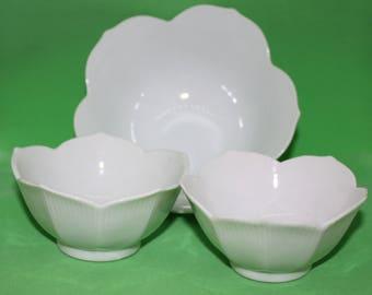 3 Lotus Bowls, Vintage made in Japan 1970's