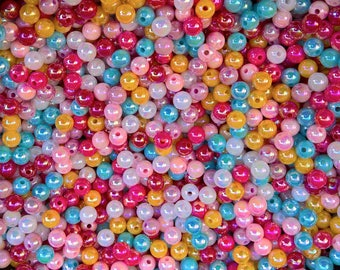 70 beads iridescent round mix color 6 mm, 6mm