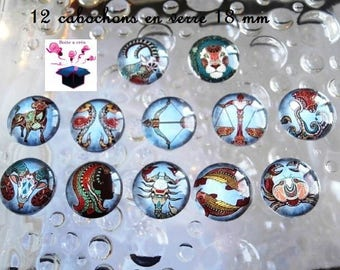 12 18mm theme Zodiac blue domed glass cabochons