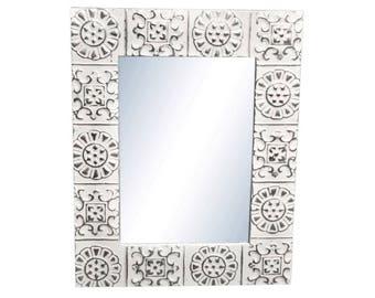 Alternating Flower 28 in. x 34 in. Tin Mirror
