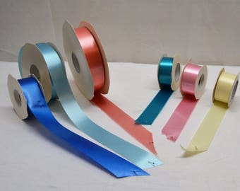 "Vintage Florist Satin Finish Ribbon 1 1/4 "" wide  Sky Blue, Royal Blue, Teal, Pastel Yellow, Coral, and  Pink Lot of 6 partial rolls"
