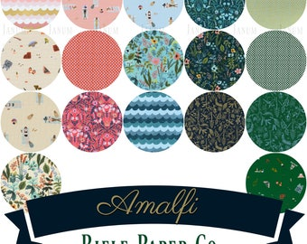 Fat quarter bundle of Amalfi by Rifle Paper Co. for Cotton and Steel fabrics- 17 pieces