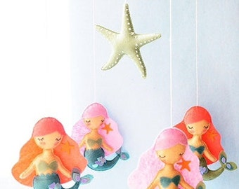 Mermaid Starfish Baby Mobile, Sea Mobile, Ocean Nursery Decor, Coral Pink Aqua, Mermaid Nursery, Ocean Sea Baby Shower
