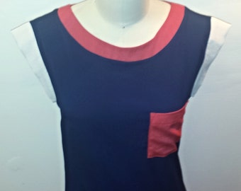 Vintage 1970s Nautical Dress - Red White and Blue