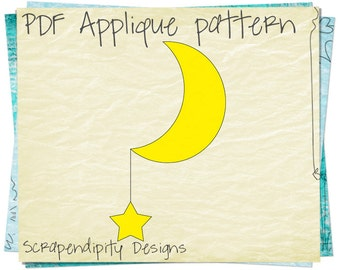 Moon and Star Fabric Applique Template - Space Applique Pattern / DIY Moon Baby Quilt / Star Iron on Template / Boys Sewing Applique AP113-D